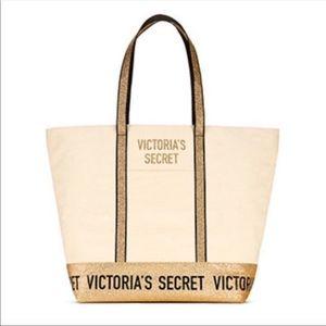 NWT Victoria's Secret Cream and Gold Tote Bag